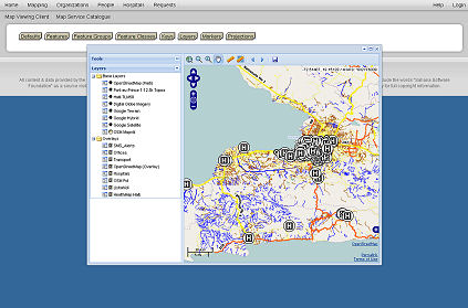 Sahana in action  :: Situation map, Haiti, four weeks after the earthquake